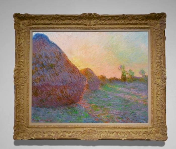 """Une toile de la série des """"Meules"""" du peintre français Claude Monet a été acquise, le 14 mai 2019,à New York pour 110,7 millions de dollars. (BENNO SCHWINGHAMMER / DPA / AFP)"""